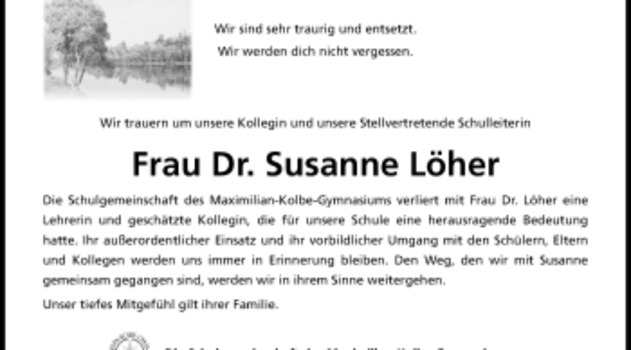 Wir trauern um Frau Dr. Susanne Löher